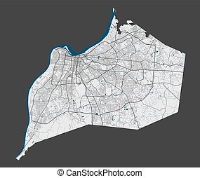 Memphis map. Detailed map of Memphis city administrative area. Cityscape panorama. Royalty free vector illustration. Outline map with highways, streets, rivers. Tourist decorative street map.