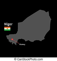 Detailed map of Niger and capital city Niamey with flag on...