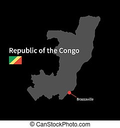 Detailed map of Republic of the Congo and capital city...