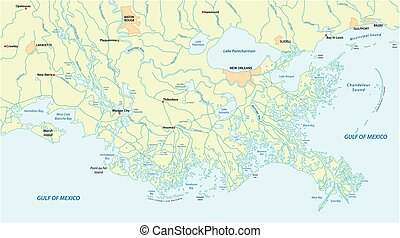 Detailed map of the Mississippi River Delta in the US state of Louisiana