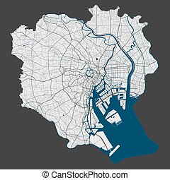 Tokyo map. Detailed map of Tokyo city administrative area. Cityscape panorama. Royalty free vector illustration. Linear outline map with highways, streets, rivers. Tourist decorative street map.