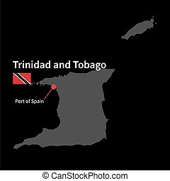 Detailed map of Trinidad and Tobago and capital city Port of...