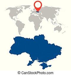 Detailed map of Ukraine and World map navigation set. Flat vector illustration.