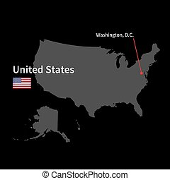 Detailed map of United States and capital city Washington with flag on black background