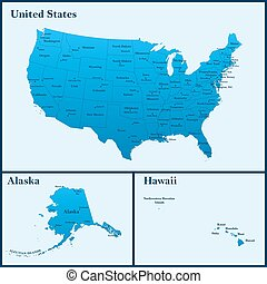 Detailed map of USA including Alaska and Hawaii