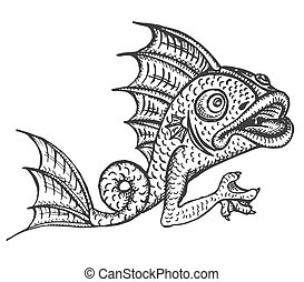 Detailed medieval decorative engraved fish gargoyle