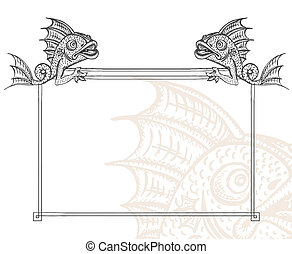 Detailed medieval decorative frame as vintage engraved fish gargoyle, with close up fragment