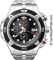 Detailed Men's Analog Dress Watch vector