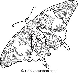 Detailed ornamental sketch of a moth, Hand drawn zentangle ...