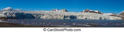 detailed panorama of Esmarkbreen glacier in Svalbard, blue sky