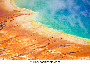 Grand Prismatic Spring - Detailed photo of Grand Prismatic...