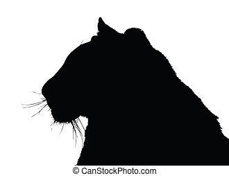 Portrait Silhouette of Large Tiger Face - Detailed Portrait...