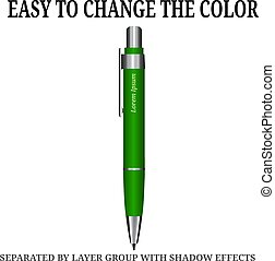 Detailed realistic vector pen icon. Illustration isolated from background.