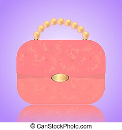 Detailed red female handbag on a white background. Isolated vector illustration.