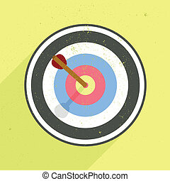 archery target - detailed retro flat style illustration of...