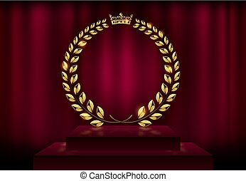 Detailed round golden laurel wreath crown award on velvet red curtain background and stage podium. Gold ring frame logo. Victory, honor achievement, quality product, anniversary. Vector illustration.