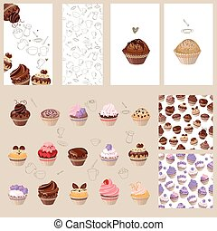 Detailed set with different muffins.