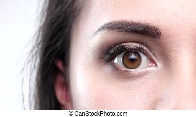 Detailed shot of a hazel eye. Closeup