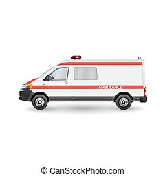 detailed side of a flat ambulance car cartoon with