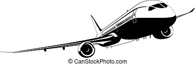 Detailed silhouette aeroplane. Available EPS-8 vector format...