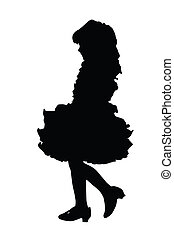 Silhouette of Cute Little Girl at Beauty Pageant - Detailed...
