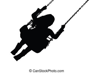 Silhouette of Small Girl on Amusement Park Swing - Detailed...