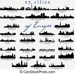 Detailed silhouettes of European cities