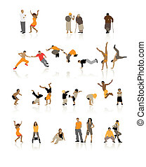 Detailed silhouettes of people: fun children, young couples, sport teens, old age