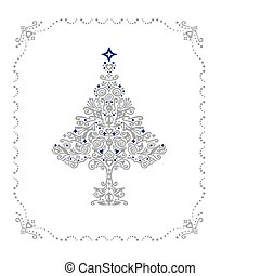 Detailed silver Christmas tree ornament in a frame