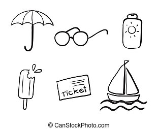 detailed sketches of various objects on a white