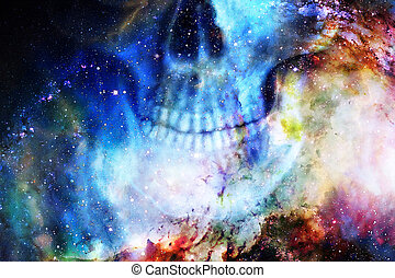 Detailed skull mouth in color cosmic abstract background.