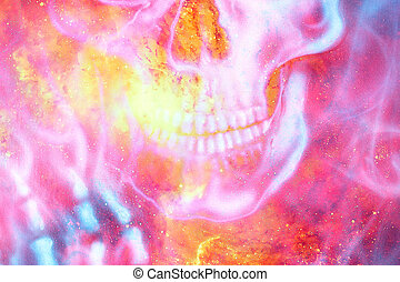 Detailed skull mouth in color cosmic abstract background. Fire effect.