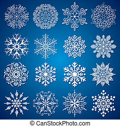 Detailed Snowflakes - Detailed vector Isolated Snowflakes,...