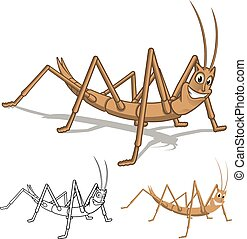 Detailed Stick Insect Cartoon