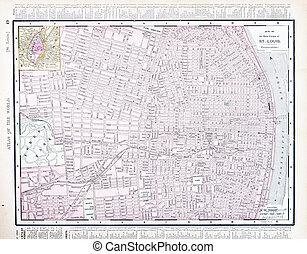 Detailed Street City Map, St. Louis, Missouri, USA