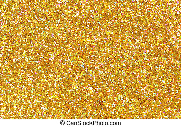 Detailed texture of glittering golden dust surface.