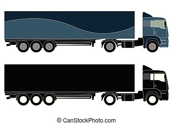 detailed truck silhouette - vector
