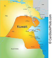 Detailed vector color map of Kuwait country