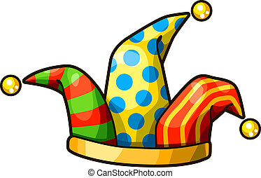 Jester hat isolated on white background - Detailed Vector ...