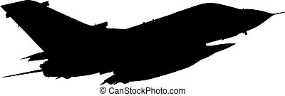 Detailed vector illustration of an Air Force Panavia 200 (PA-200) Tornado fighter jet. Isolated realistic silhouette Panavia 200 PA 200 Tornado jet fighter while flying.