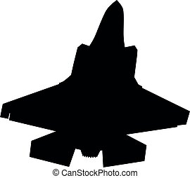 Detailed vector illustration of an Air Force stealth F-35 Lightning II fighter jet. Isolated realistic silhouette F 35 jet fighter while flying.
