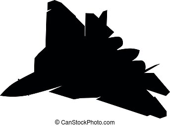 Detailed vector illustration of an WWS Russian Air Force and the Russian Aerospace Defence Forces Sukhoi Su-57 fighter jet. Isolated realistic silhouette Suchoi Su-57 jet fighter while flying.