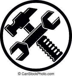 Detailed vector illustration of hammer and wrench crossed,...