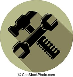 Detailed vector illustration of hammer and wrench crossed, work tools. Industry utensil symbol, mallet and spanner