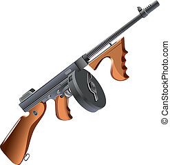 machinegun - Detailed vector image of machinegun - Tommy Gun...