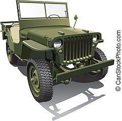 "Detailed vector image of old army jeep - ""workhorse"" of the Allied forces in World War II, isolated on white background. File contains gradients and transparency (windshield). No blends and strokes."