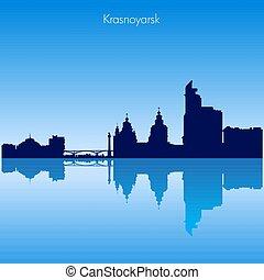 Vector Krasnoyarsk skyline silhouette. Russia
