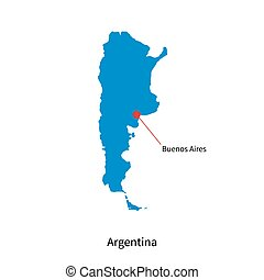 Detailed vector map of Argentina and capital city Buenos Aires
