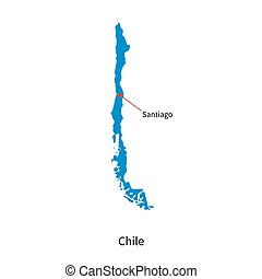Detailed vector map of Chile and capital city Santiago