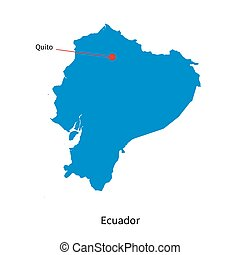 Detailed vector map of Ecuador and capital city Quito